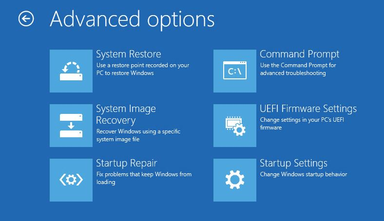 Recovery disk uefi boot windows 10